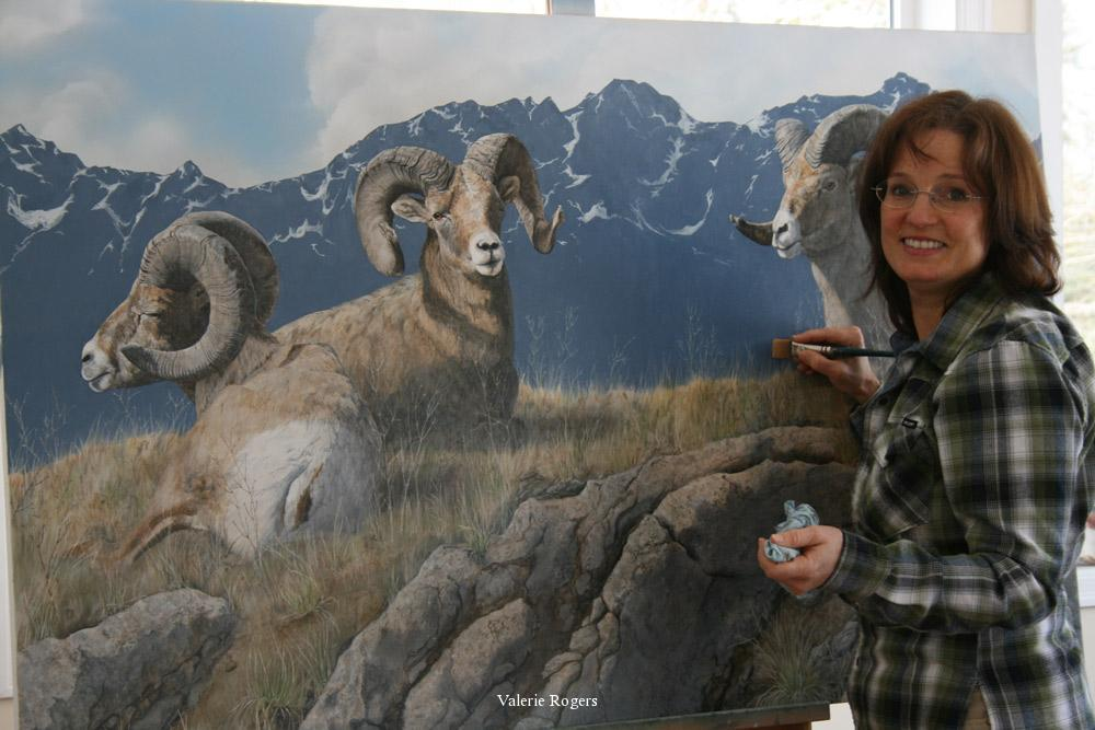 artist Valerie Rogers creating a painting