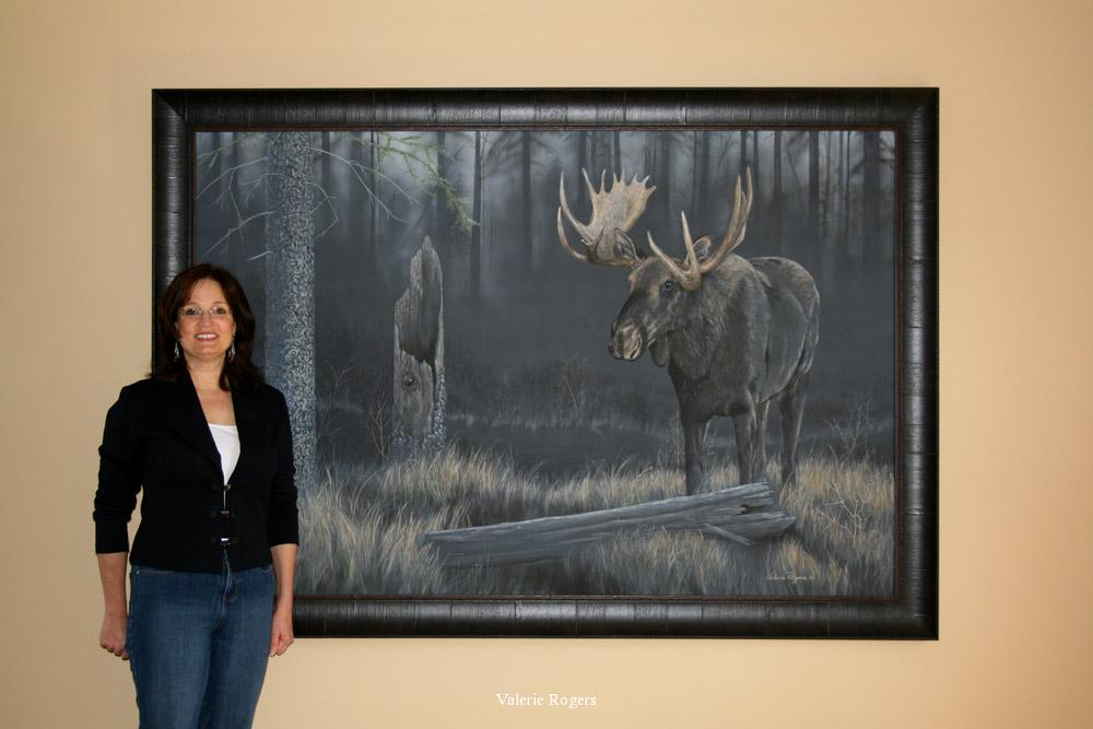 artist Valerie Rogers with painting
