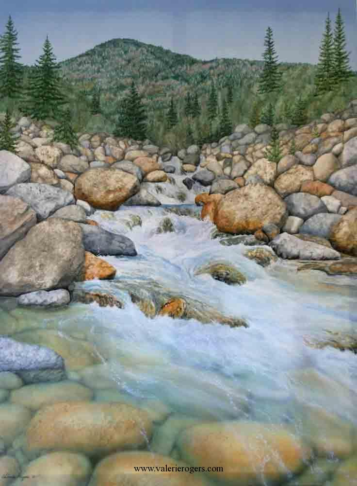Valerie Rogers' painting of mountain stream
