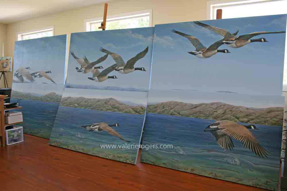 big painting of Canadian geese