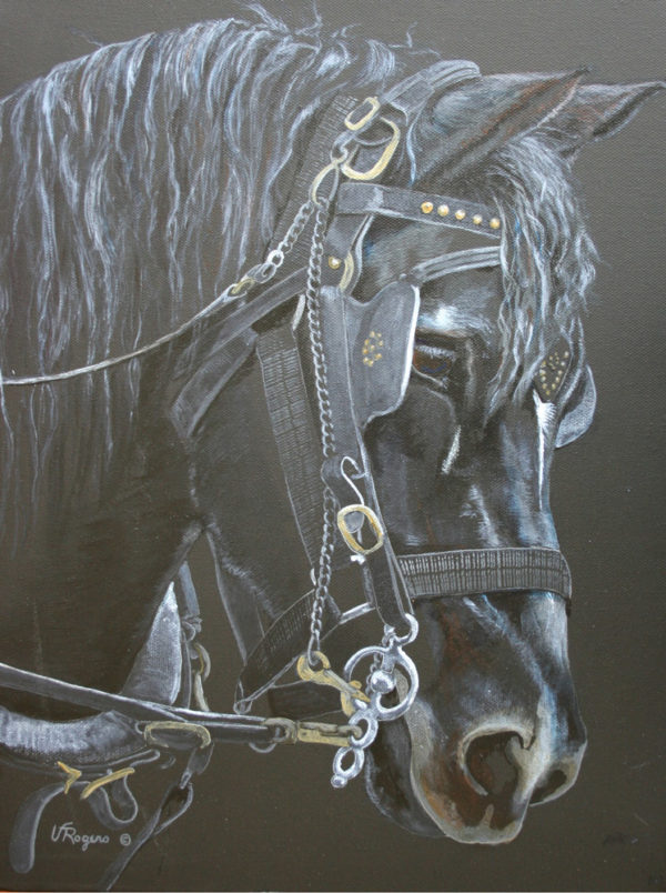 Valerie Rogers' black painting of a horse