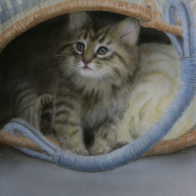 acrylic painting of kitten in basket