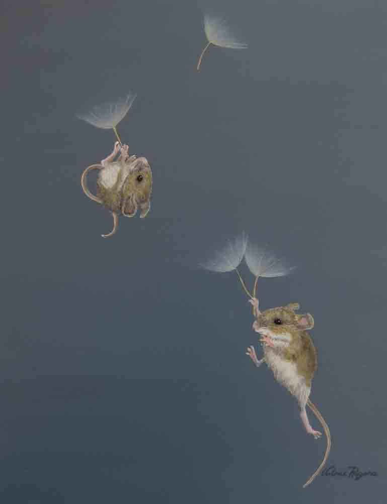 mice floating up away in Painting by Valerie Rogers