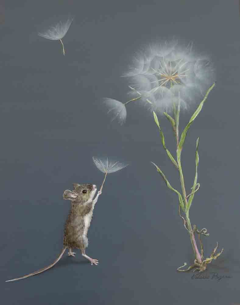 Mouse playing with dandelion fluff.