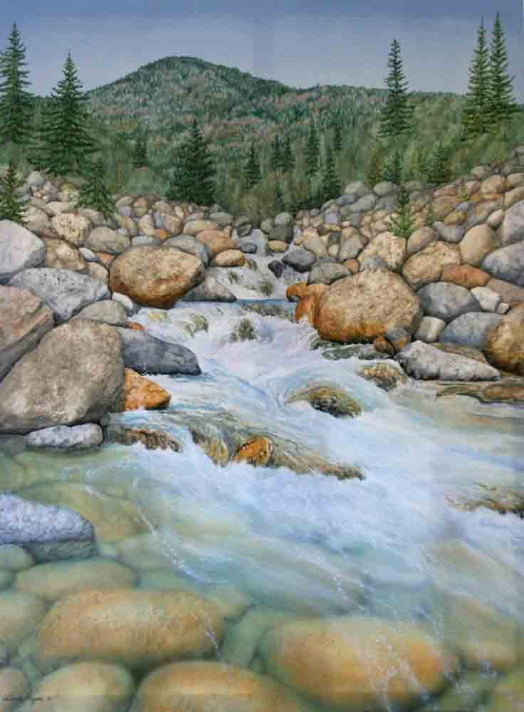 painting of a rushing mt creek.