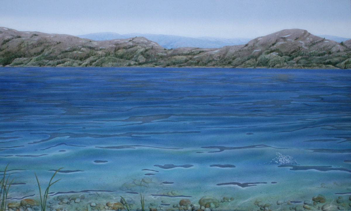 Acrylic painting of transparent blue water by Valerie Rogers
