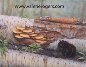 Partial completed Mushroom and Squirrel Painting by Valerie Rogers