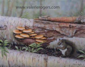 Valerie Rogers painting of squirrel and mushrooms