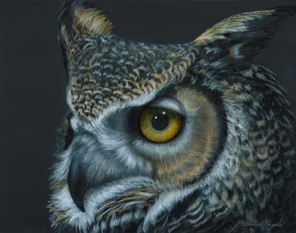 Painting of Great horned Owl by Valerie Rogers