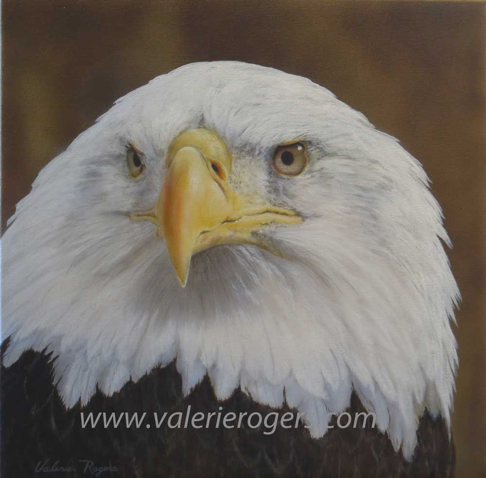 Eagle head painted by Valerie Rogers