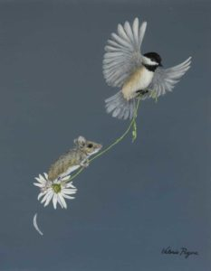 Valerie Rogers painting of mouse and Chickadee
