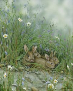 nest of bunnies in the flowers