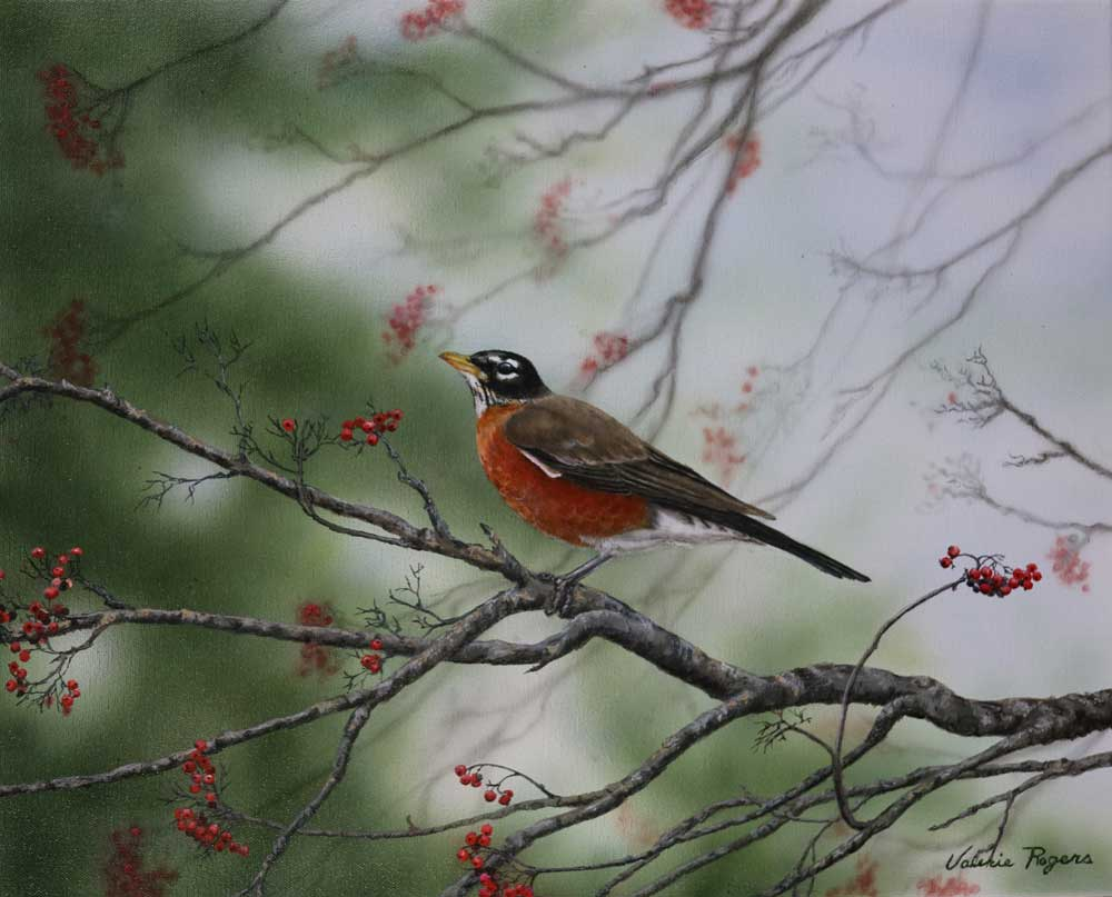 Robins Return Painting by Valerie Rogers