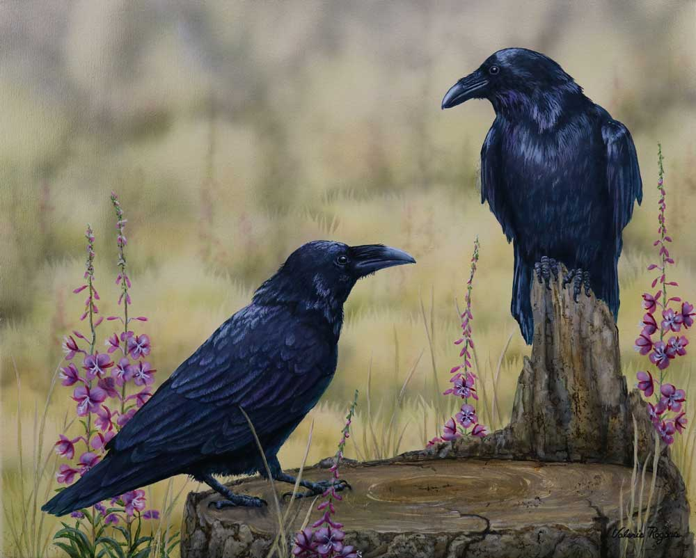 Fire weed and Raven painting