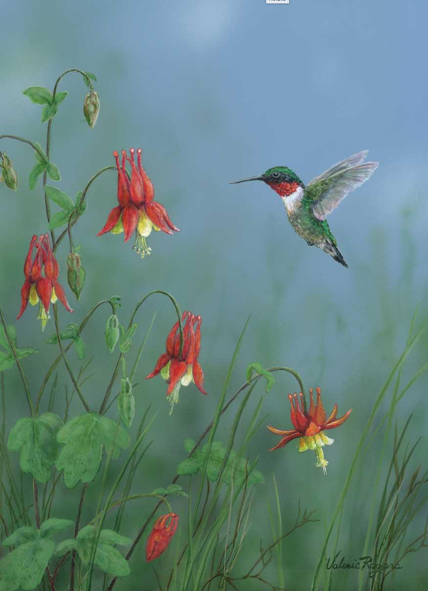 hummingbird in flowers painting